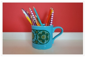sharp pencils in 60s mug