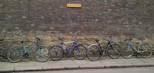 bikes against a wall