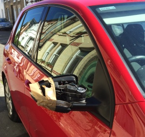 wing mirror held on with parcel tape