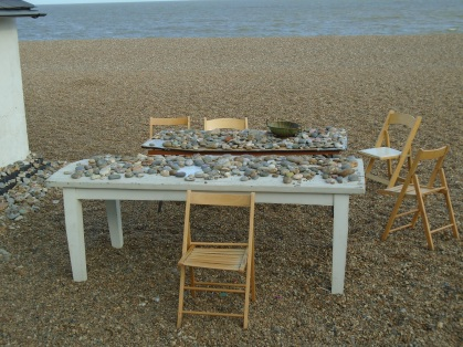 Tables on the beach at Aldeburgh