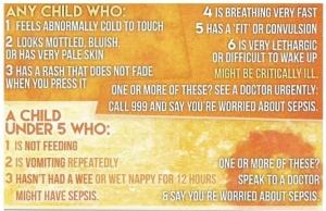 symptoms of sepsis in children