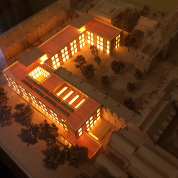 architectural model of new buildings Newnham College, Cambridge