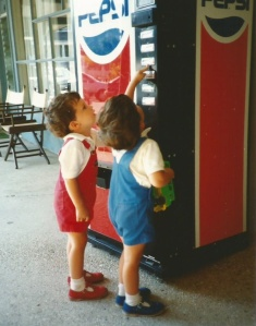 twins at the soft drinks dispenser