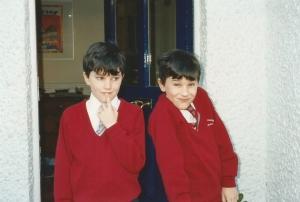 twins in school uniform
