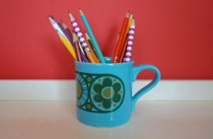 pencils in sixties mug